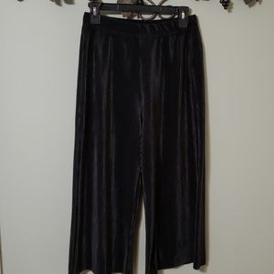 Capri length multi pleated wide leg dress pants